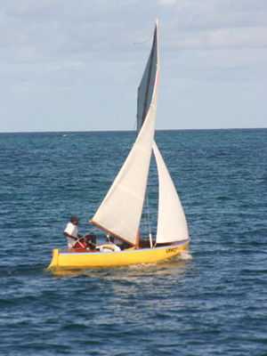 Locally designed sailboat in the Sea