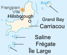 Location of the Frangipani-Villa in Carriacou